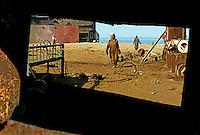Workers at the Gaddani ship-breaking yard.
