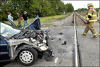 A car was struck by a westbound Norfolk Southern train where the tracks cross Highway 219 in Potter, Ala. Thursday at 5 p.m.