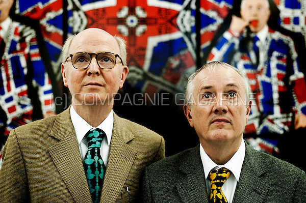 British contemporary artists Gilbert and George posing in the Baronian_Francey gallery in Brussels (Belgium, 09/09/2009)