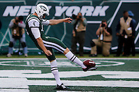 New York Jets Ryan Quigley kicks the ball against Buffalo Bills during their NFL game at MetLife Stadium in New Jersey. 09.05.2014. VIEWpress