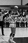 Bethel Park PA:  Scott Streiner 32 shooting a foul shot during a basketball game against the Mt Lebanon Blue Devils at Bethel Park Gymnasium - 1968. The JV Team was coached by Mr. Reno and the Bethel Park JVs won the Section Championship.  The team included; Scott Streiner, Steve Zemba, John Klein, Mike Stewart, Bruce Evanovich, Jeff Blosel and Tim Sullivan.
