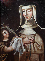 Portrait of St Agnes of Jesus, 1602-34, and her guardian angel, 18th century, by an unknown artist, in the Chapel of the Ecole Saint Joseph (Saint Joseph's school) at Le Puy en Velay, Haute Loire, Auvergne, France. St Agnes of Jesus, or St Agnes of Langeac, founded the Monastere Sainte Catherine de Sienne, or Monastery of St Catherine of Siena in Langeac in 1623, and was prioress from 1627. Picture by Manuel Cohen