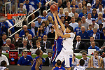 31 MAR 2012:  Anthony Davis (23) of the University of Kentucky tries to shoot over Jeff Withey (5) of the University of Kansas in the championship game of the 2012 NCAA Men's Division I Basketball Championship Final Four held at the Mercedes-Benz Superdome hosted by Tulane University in New Orleans, LA. Kentucky defeated Kansas 67-59 to win the national title. Brett Wilhelm/NCAA Photos