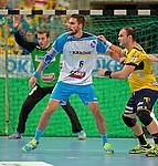 GER - Mannheim, Germany, September 23: During the DKB Handball Bundesliga match between Rhein-Neckar Loewen (yellow) and TVB 1898 Stuttgart (white) on September 23, 2015 at SAP Arena in Mannheim, Germany. Final score 31-20 (19-8) .  Dominik Weiss #6 of TVB 1898 Stuttgart, Rafael Baena Gonzalez #16 of Rhein-Neckar Loewen<br /> <br /> Foto &copy; PIX-Sportfotos *** Foto ist honorarpflichtig! *** Auf Anfrage in hoeherer Qualitaet/Aufloesung. Belegexemplar erbeten. Veroeffentlichung ausschliesslich fuer journalistisch-publizistische Zwecke. For editorial use only.