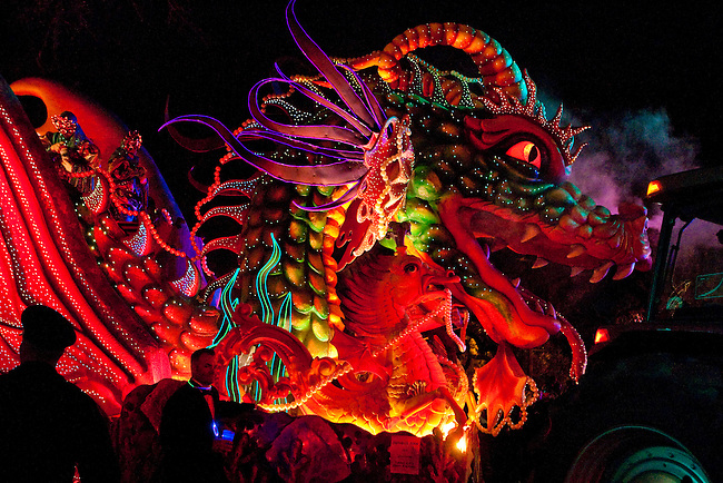 Leviathan, the dragon float, complete with fiber optics and blowing smoke is one the largest floats in the Krewe of Orpheus parade as it rolls on the day before Mardi Gras through the Uptown area of New Orleans, Louisiana, USA, 23 February 2009.