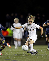 """Boston College forward Kristen Mewis (19) shoots the ball. Boston College defeated West Virginia, 4-0, in NCAA tournament """"Sweet 16"""" match at Newton Soccer Field, Newton, MA."""