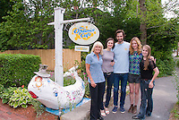 Optimist Cafe, Yarmouthport, MA, Cape Cod, actors John Behlmann & Lucy Walters, with Optimist Cafe manager Jessie McMahon, and scene extras Emma McMahon, Kate McMahon, on location for film Lies I Told My Little Sister