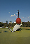 Minnesota, Twin Cities, Minneapolis-Saint Paul: Sculpture Spoonbridge and Cherry by Claes Oldenburg at the Minnesota Sculpture Garden next to the Walker Art Center..Photo mnqual207-74976..Photo copyright Lee Foster, www.fostertravel.com, 510-549-2202, lee@fostertravel.com.
