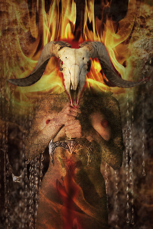 demonic female nude in flames