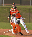 PLYMOUTH, CT-042017JS09- Watertown's Justin Guerrera (22) tries unsuccessfully to turn a double play after getting Terryville's Shawn Fulton  (2) on a force play at second during their game Thursday at Terryville High School in Plymouth. <br /> Jim Shannon Republican-American
