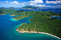 Aerial view of Hurricane Hole<br /> with Tortola in he backround<br /> St. John<br /> U.S. Virgin Islands