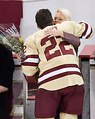 Paul Carey (BC - 22), Denise Carey - The Boston College Eagles defeated the University of Vermont Catamounts 4-0 on Saturday, March 3, 2012, at Kelley Rink/Conte Forum in Chestnut Hill, Massachusetts. The two points from the win gave BC the Hockey East regular season championship.