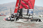 Emirates Team New Zealand in the first fleet race of the  America's Cup World Series, San Francisco. 23/8/2012