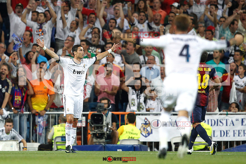 Real Madrid's Cristiano Ronaldo goal during Spanish Supercup 2nd match on august 29 2012...Photo: Cesar Cebolla / ALFAQUI /NortePhoto.com<br />
