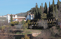 The Generalife, summer palace and country estate and gardens of the Nasrid kings, built in the 14th century under Muhammad III, 1302–1309 and redecorated by Abu I-Walid Isma'il, 1313-1324, Alhambra Palace, Granada, Andalusia, Southern Spain. The Alhambra was begun in the 11th century as a castle, and in the 13th and 14th centuries served as the royal palace of the Nasrid sultans. The huge complex contains the Alcazaba, Nasrid palaces, gardens and Generalife. Granada was listed as a UNESCO World Heritage Site in 1984. Picture by Manuel Cohen