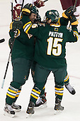 Anders Franzon (UVM - 27), Colin Markison (UVM - 6), Yvan Pattyn (UVM - 15) - The Boston College Eagles defeated the University of Vermont Catamounts 4-1 on Friday, February 1, 2013, at Kelley Rink in Conte Forum in Chestnut Hill, Massachusetts.