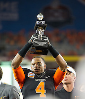 STANFORD, CA - January 2, 2012: Oklahoma State cornerback Justin Gilbert (4) awarded the defensive player of the game against Stanford at the Fiesta Bowl at University of Phoenix Stadium in Phoenix, AZ. Final score Oklahoma State wins 41-38.