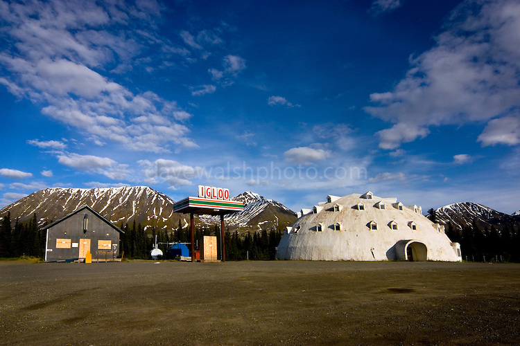 Igloo City - Deserted gas station at mile 188.5, between Anchorage and Fairbanks, George Parks Highway, Alaska.