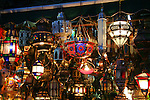 North Africa, Africa, Morocco, Marrakesh.  Traditional ornate Morrocan lamps for sale.
