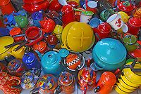 USA, Variety of antique enamelware teapots, coffeepots, cups, pitchers and cookware.