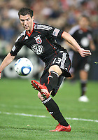 Chris Pontius #13 of D.C. United boots the ball up field during an MLS match against the New England Revolution on April 3 2010, at RFK Stadium in Washington D.C.