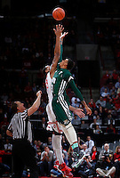 Ohio State Buckeyes center Amir Williams (23) and Ohio Bobcats forward Jon Smith (21) tip off during Tuesday's NCAA Division I basketball game at Value City Arena in Columbus on November 12, 2013. (Barbara J. Perenic/The Columbus Dispatch)