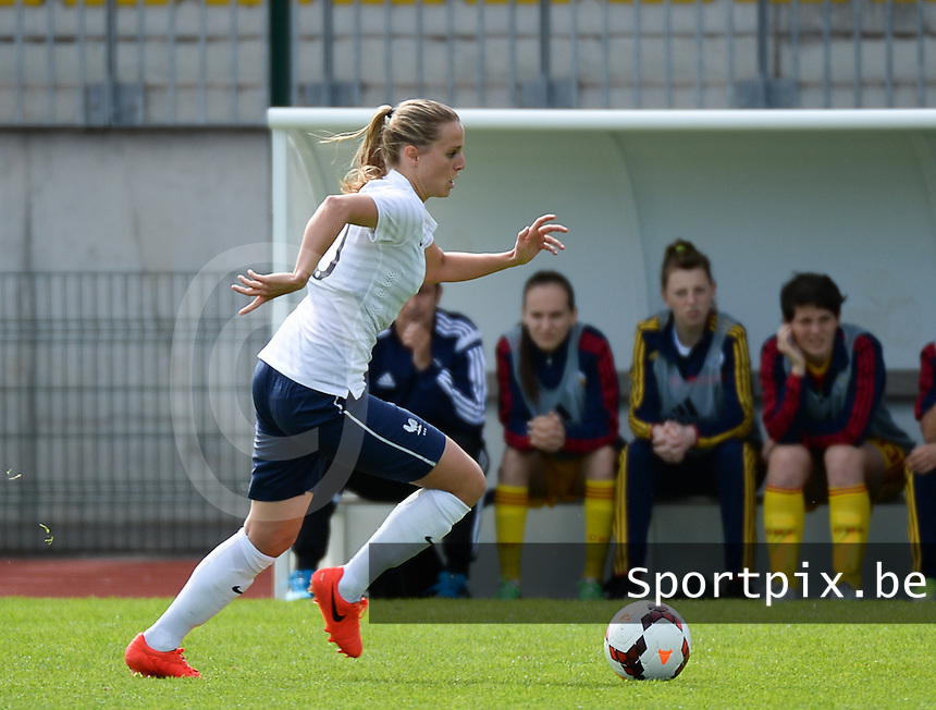 20140405 - TRELISSAC , FRANCE : French Sandie Toletti pictured during the female soccer match between France U19 and Romania  U19 , in the first game of the Elite round in group 3 in the UEFA European Women's Under 19 competition 2014 in the Stade Firmin Daudou , Saturday 5 April 2014 in Trelissac . PHOTO DAVID CATRY