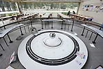 A Foucault pendulum is located in a rest area inside the city science museum in Nagoya, Aichi Prefecture, Japan on 13 Oct. 2011. Photograph: Robert Gilhooly