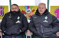 Fussball 1. Bundesliga :  Saison   2012/2013   9. Spieltag  27.10.2012 SpVgg Greuther Fuerth - SV Werder Bremen Manager Klaus Allofs UND Trainer Thomas Schaaf (v. li., SV Werder Bremen)