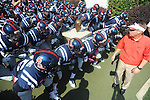 Ole Miss Coach Hugh Freeze and team prepare to take the field vs. Auburn at Vaught-Hemingway Stadium in Oxford, Miss. on Saturday, October 13, 2012. ..