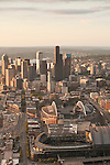 Aerial view of Seattle skyline with stadiums CenturyLink and Safeco fields toward sunset