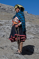 A lama herdswoman near the Interoceanic Highway at 4000m in the Andes mountains