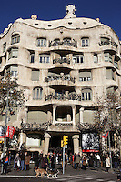 Southern Façade, La Pedrera (Casa Milà), Barcelona, Catalonia, Spain, built by Antoni Gaudí (Reus 1852 ? Barcelona 1926), 1906 - 1910, for the Milà Family, with Josep Maria Jujol as architect collaborator and with Joan Beltran as a plaster. One of the main Gaudi residential buildings. Picture by Manuel Cohen