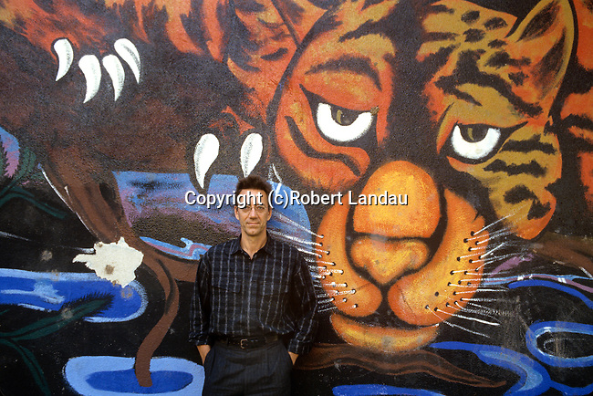 Ray Manzarek of The Doors in front of a Venice beach mural during filming of video for L.A. Woman, Venice, CA