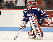Connor Hellebuyck (UML - 37) - The visiting University of Massachusetts Lowell River Hawks defeated the Boston University Terriers 3-0 on Friday, February 22, 2013, at Agganis Arena in Boston, Massachusetts.