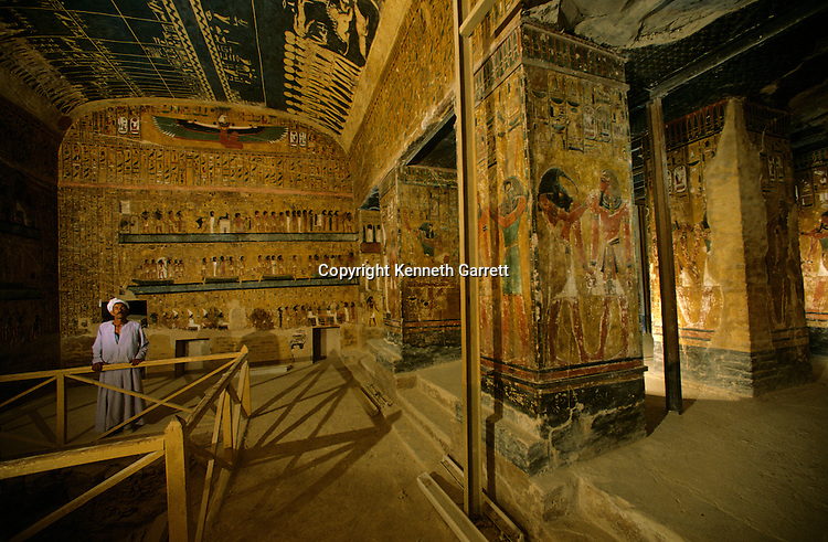 Egypt's Valley of the Kings, Tomb of Seti I, Father of Ramses II, decorations used as a guidebook to the afterlife, Egypt, New Kingdom