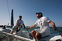 Extreme Sailing Series 2011. Leg 1. Muscat. Oman.Oman Air EX40 team training skipper Sidney Gavignet and team mate Kinley Fowler