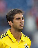 Columbus Crew defender Carlos Mendes (4). In a Major League Soccer (MLS) match, the New England Revolution tied the Columbus Crew, 0-0, at Gillette Stadium on June 16, 2012.