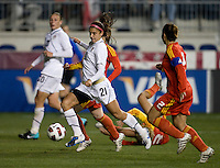 Alex Morgan (21) of the USWNT strikes for her first career goal during an international friendly at PPL Park in Chester, PA.  The U.S. tied China, 1-1.