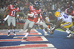 Ole Miss' Enrique Davis (27), LSU defensive end Barkevious Mingo (49), and Ole Miss' Patrick Junen (77) go for a fumble at Vaught-Hemingway Stadium in Oxford, Miss. on Saturday, November 19, 2011. LSU linebacker Kevin Minter (46) recovered for a touchdown. .