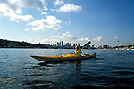 Washington: Seattle.  Kayaking on Lake Union.  Model released.  Photo #: wawate101..Photo copyright Lee Foster, www.fostertravel.com, 510/549-2202, lee@fostertravel.com