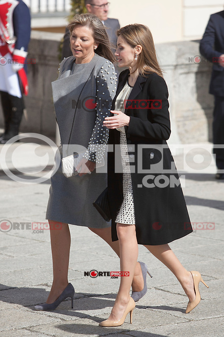 Queen Letizia of Spain and Colombia´s President wife Maria Clemencia Rodriguez during welcome ceremony at the Pardo Palace in Madrid, Spain. March 01, 2015. (ALTERPHOTOS/Victor Blanco) /NORTEphoto.com