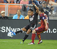 D.C. United midfielder Andy Najar (14) goes against Real Salt Lake midfielder Ned Grabavoy (20). D.C. United defeated Real Salt Lake 4-0 at RFK Stadium, Saturday September 24 , 2011.