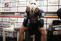 Niki Terpstra (NED/Etixx-Quickstep) trying to get warm again in the press tent after winning a very wet/cold 2016 edition of the GP Samyn