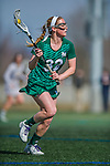 30 March 2016: Manhattan College Jasper Midfielder Casey Silvestri, a Senior from Pomona, NY, in action against the University of Vermont Catamounts at Virtue Field in Burlington, Vermont. The Lady Cats defeated the Jaspers 11-5 in non-conference play. Mandatory Credit: Ed Wolfstein Photo *** RAW (NEF) Image File Available ***
