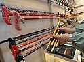 February 9, 2012, Tokyo, Japan - Collapsible walking canes are shown in the Tokyo International Gift show at the Big Sight in Tokyo on Thursday, February 9, 2012. A total of 2,500 companies, including 220 from 22 foreign countries and regions, showcased three million amazing new products during the three-day exhibition. (Photo by Natsuki Sakai/AFLO) AYF -mis-