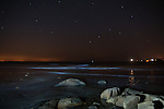 Wingaersheek Beech, Gloucester, MA at night. Annisquam Ligh in the distant right and the glow of Newburyport on the left.