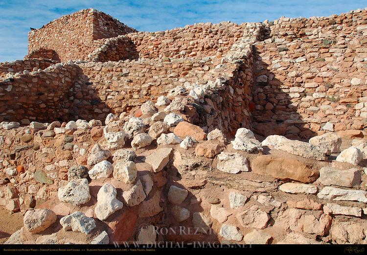 Reconstructed Pueblo Walls, North Central Rooms and Citadel, Tuzigoot Sinagua Pueblo, Tuzigoot National Monument, Verde Valley, Arizona