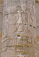 Inscriptions on a column in the Great Hypostyle Hall in Karnak Temple, Cairo, Egypt