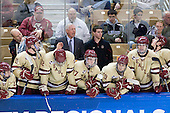 Johnny Gaudreau (BC - 13), John Hegarty (BC - Dir-Hockey Ops), Pat Mullane (BC - 11), Kevin Hayes (BC - 12), Jerry York (BC - Head Coach), Destry Straight (BC - 17), Chris Malloy (BC - Manager), Chris Kreider (BC - 19), Patrick Wey (BC - 6), Patch Alber (BC - 3), Greg Brown (BC - Assistant Coach) - The Boston College Eagles defeated the University of Minnesota Duluth Bulldogs 4-0 to win the NCAA Northeast Regional on Sunday, March 25, 2012, at the DCU Center in Worcester, Massachusetts.
